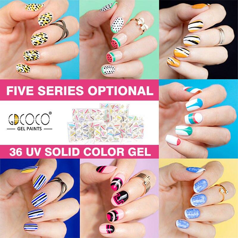 gdcoco 5ml 36 neon colors venalisa nail art tips design uv/led gel ...