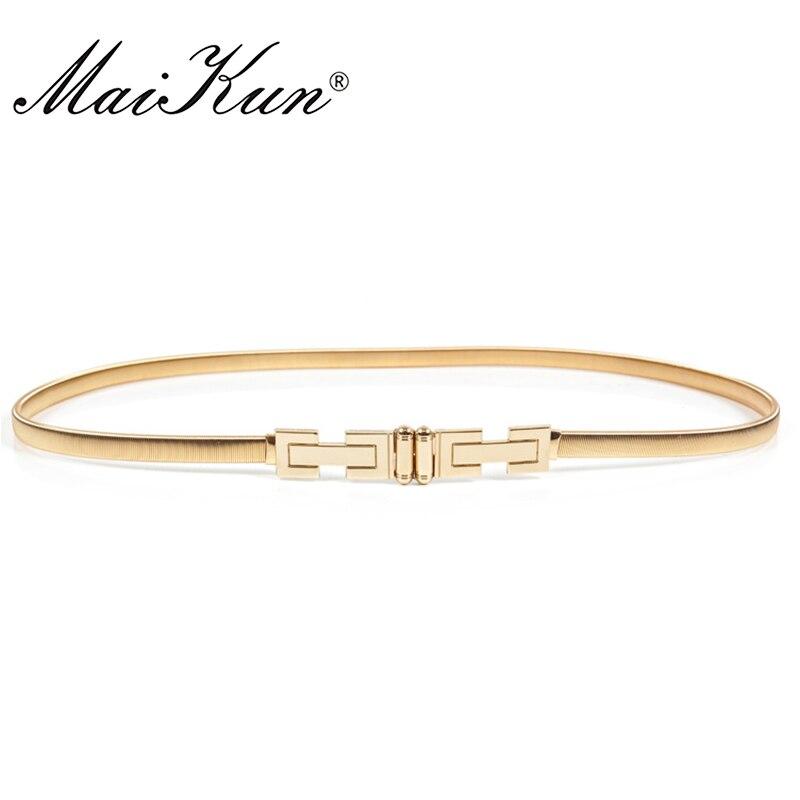 MaiKun Elastic Thin   Belts   for Women Luxury Gold Female   Belt   Designer Brand   Belts   for Dress