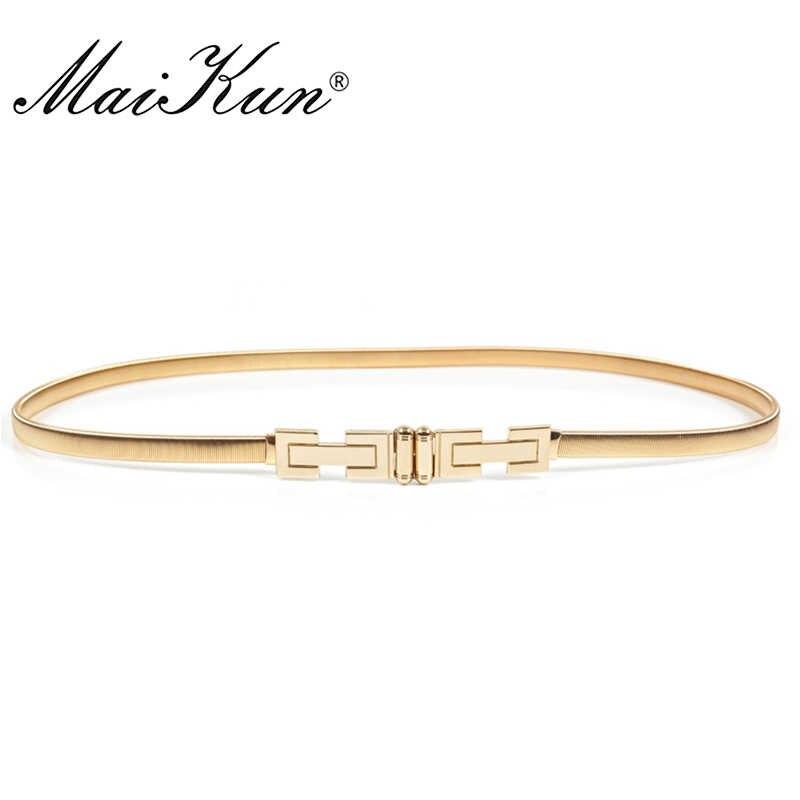Majkun elastyczne cienkie paski dla kobiet luksusowe złota kobieta pas projektant marki pasy do sukni