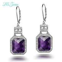 L Zuan 925 Sterling Silver Natrual 11 20ct Amethyst Purple Quartz Round Drop Earring Jewelry For