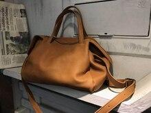 Vendange retro casual couro genuíno bolsa feminina simples individualidade artesanal totes cross corpo saco 2538
