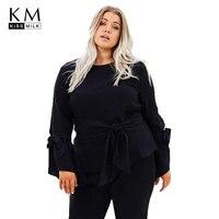 Kissmilk 2018 Plus Size Lace Up Women T Shirts Large Size Long Sleeve O Neck Female
