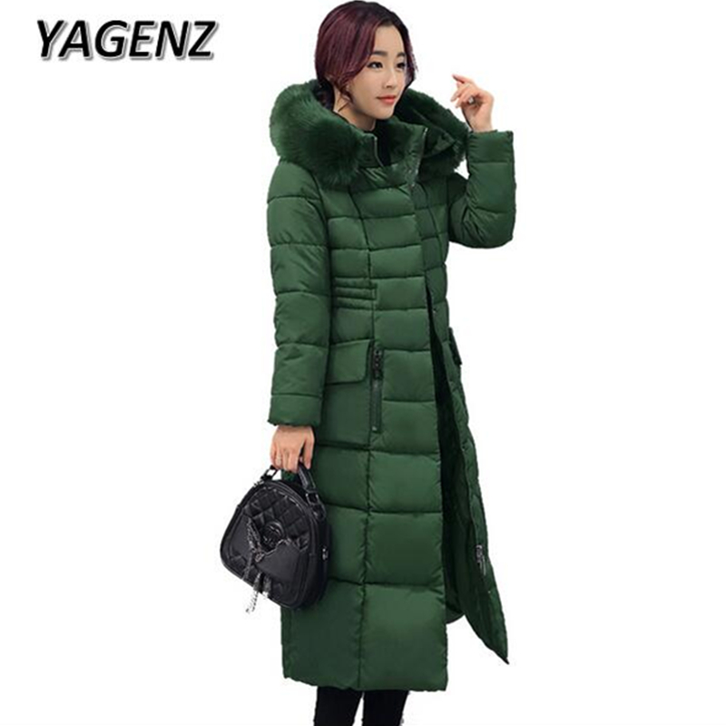 YAGENZ2017 Female Hooded Winter Jacket Coat Korea Slim Down Cotton Long Overcoats Warm Parka Thicker Women Coat Fashion Clothing retro with hood korea fashion slim winter coat female outwear down thick warm parka women
