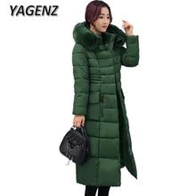 YAGENZ2017 Female Hooded Winter Jacket Coat Korea Slim Down Cotton Long Overcoats Warm Parka Thicker Women Coat Fashion Clothing