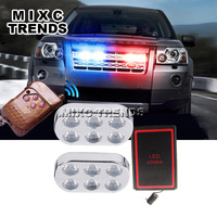 2Pcs 6led Panel Wireless LED Strobe Light 12W Car DRL High Power Emergency Light Flashing Firemen
