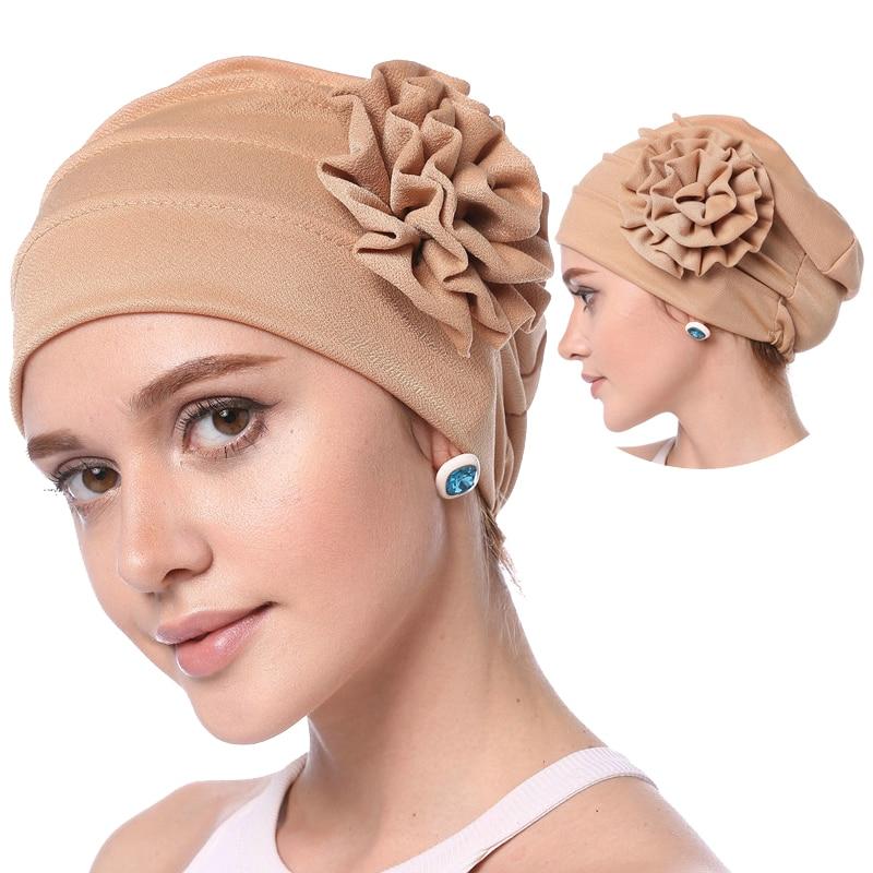 2019 мусульманская женская Внутренняя Хиджаб мягкий эластичный цветок головной убор шапки твердый хлопок дышащий ислам капот Арабская повяз...