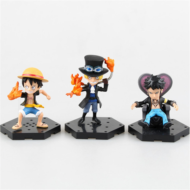 One Piece New World Ace Luffy Law Sabo 4pcs/set 8CM Action Figures PVC Toy