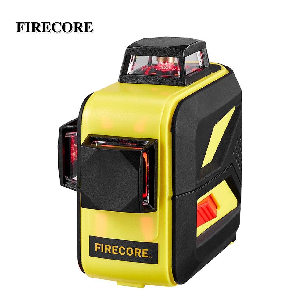 FIRECORE F93T-XR 12 Linee 3D Laser Livello LR6/Batteria Al Litio Auto-Livellamento Orizzontale e Verticale Linee Trasversali All'aperto utilizzare Ricevitore
