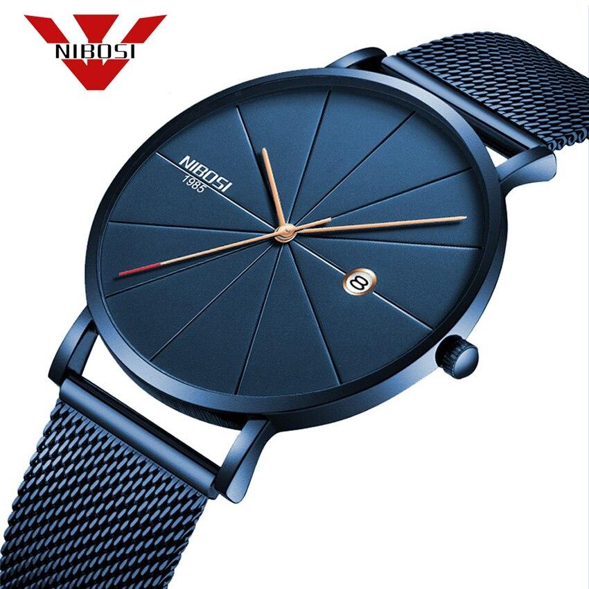 NIBOSI hombres simples relojes 2018 nuevo tipo reloj impermeable moda milanesa banda Relogio Masculino lujo reloj azul