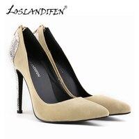 LOSLANDIFEN Seksi Yüksek Topuklu Womens Pompalar Kadife Bayan Ayakkabıları Yılan Sivri Burun Fermuar Kadın Mahkemesi Düğün Ayakkabı Büyük Boy 302-25VE