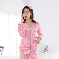 Pink Striped Pajamas Matte Satin Pajama Set Long Sleeve Silk Pajamas for Women Silk Pyjamas Women Nightwear