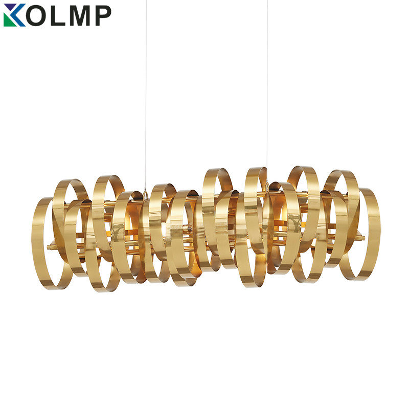 Post-modern latest design stainless steel circle ring pendant lamp arts fashion gold metal bar chandelier for restaurant/hotel r694 classy fashion hot latest wedding ring