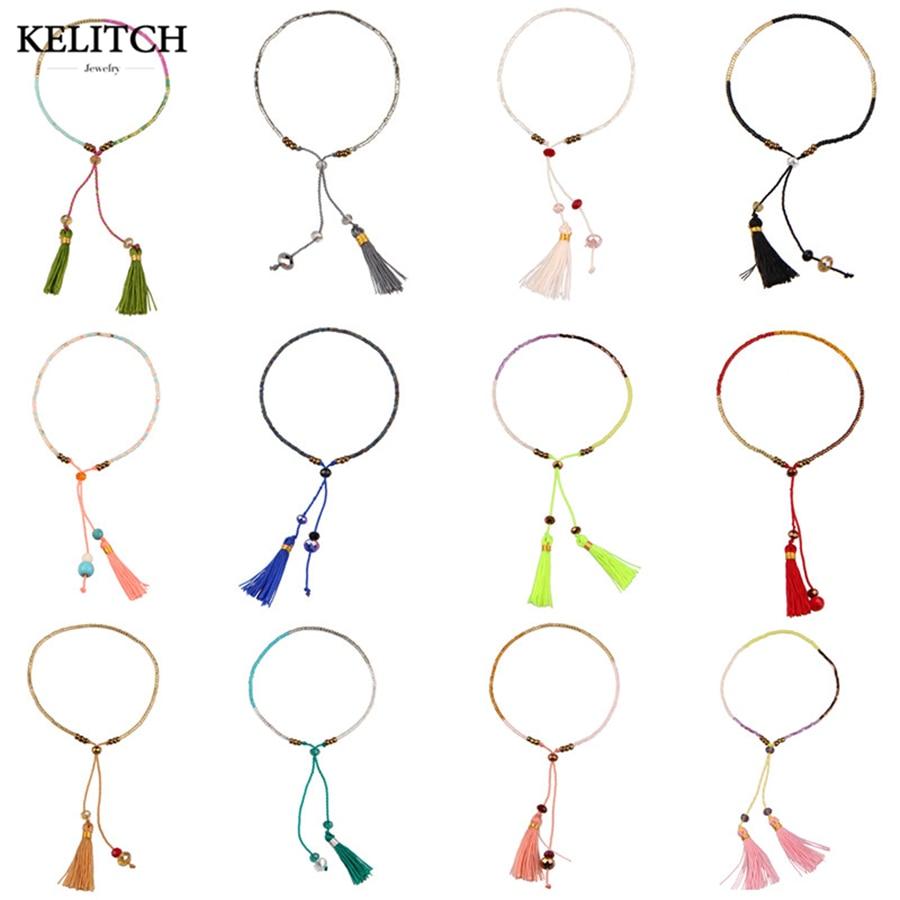 KELITCH 10Pcs Multicolor tassel Seed Beaded Bracelets Handmade Friendship Bracelets Bohemia Strand Bradelet For gifts 3