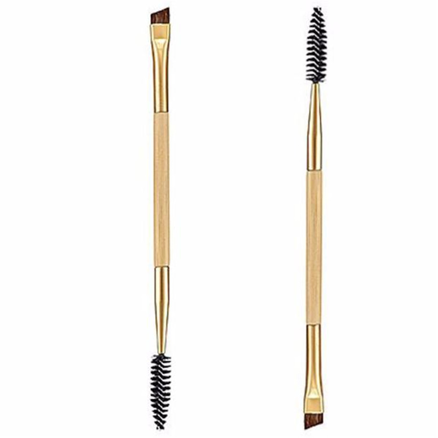 2017 1PCS Makeup Bamboo Handle Double Eyebrow Brush + Eyebrow Comb maquiagem цена