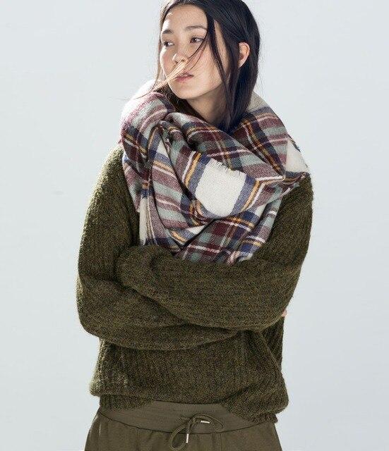 Za invierno Poncho mujer Tartan bufanda diseñador bufanda a cuadros nuevo diseñador Unisex acrílico chales Oversized invierno cálido pañuelo