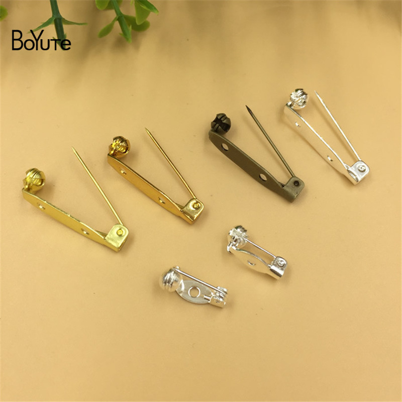 BoYuTe 100Pcs 15MM 28MM Length Pins Jewelry Accessories Diy Hand Made Safety Pin Brooch Base (3)