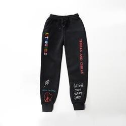 Качественные флисовые брюки с изображением Трэвиса Скотта астромир с принтом букв Женские Мужские штаны для бега хип-хоп Уличная мужские