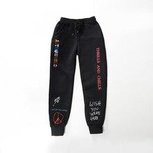 Wysokiej jakości spodnie z polaru TRAVIS SCOTT ASTROWORLD nadrukowane litery kobiety mężczyźni spodnie do joggingu hiphopowy sweter męskie spodnie dresowe