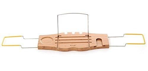 bamboe en roestvrij staal bad caddy badkamer opbergrek met ipad rack ...