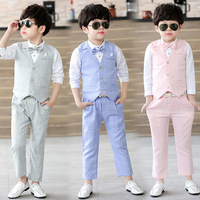 2019 New suits for Boys Formal Suit Wedding Campus Student Gentleman Boy Waistcoat + Shirt + Pant 3Pcs Ceremony Costumes 3 10T