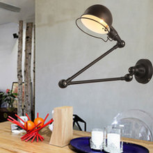 Retro loft living room bedroom bedside wall lamp arm adjustable American country LED study work office lamp vintage light