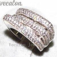 Vecalon Винтаж Проложить Набор 240 шт. AAAAA Циркон CZ Обручение обручальное кольцо для Для женщин 10kt белый Gold Filled палец кольцо