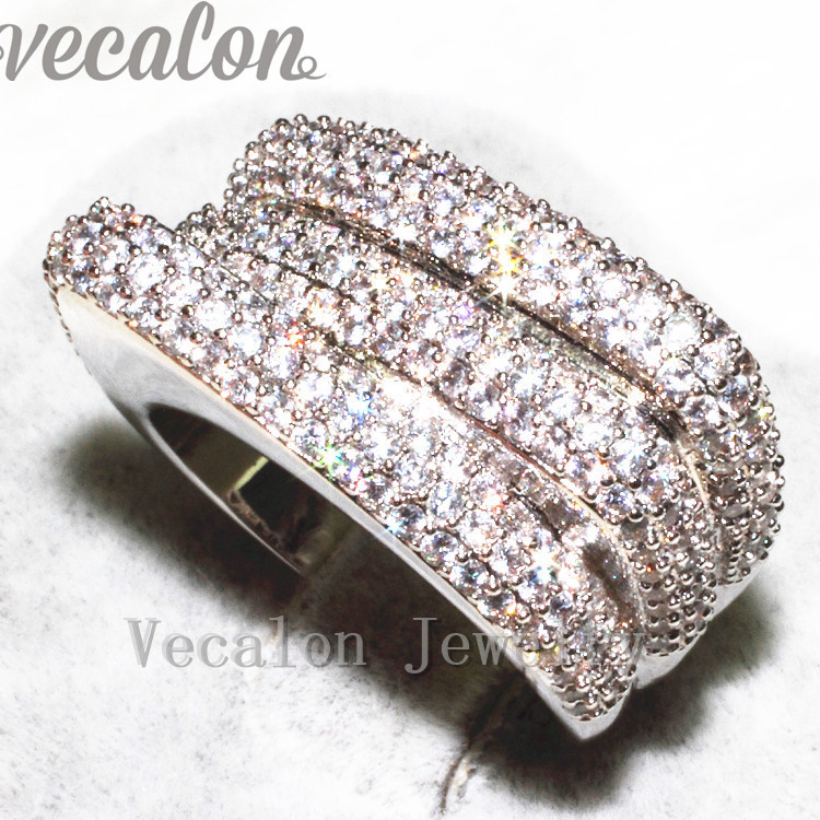 Vecalon Vintage Pave set 240pcs AAAAA Zircon Cz Engagement Wedding Band ring for Women 10KT White Gold Filled Finger ring цена 2017