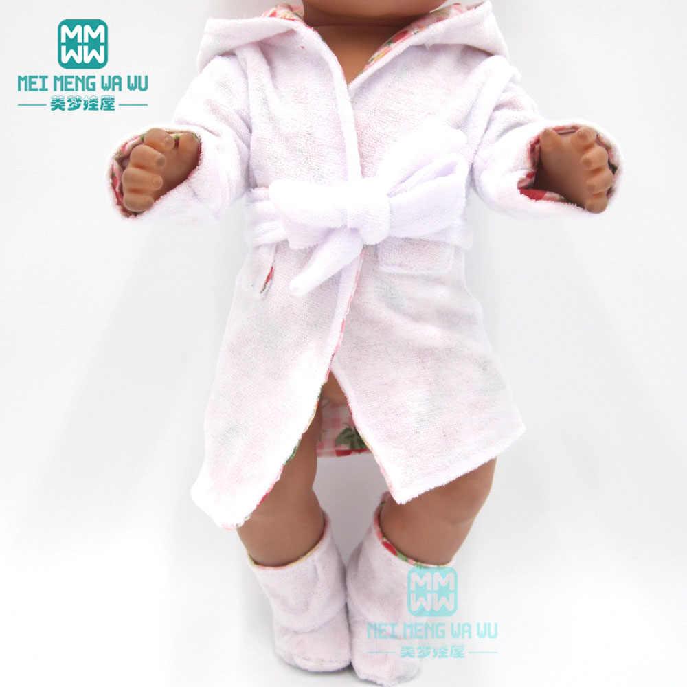 Clothes for dolls fits 43cm new born doll accessories and American doll White fashion baby pajamas and bathrobes