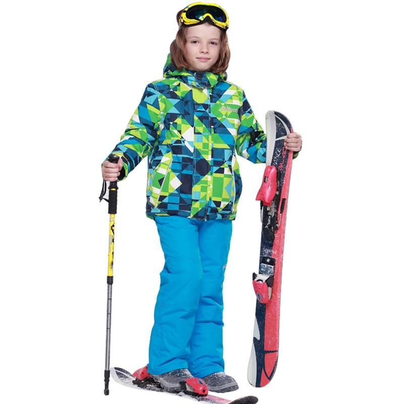 Dollplus 2019 enfants Ski costume enfants coupe-vent imperméable à l'eau chaud garçon neige ensemble snowboard veste + pantalon hiver Ski ensembles