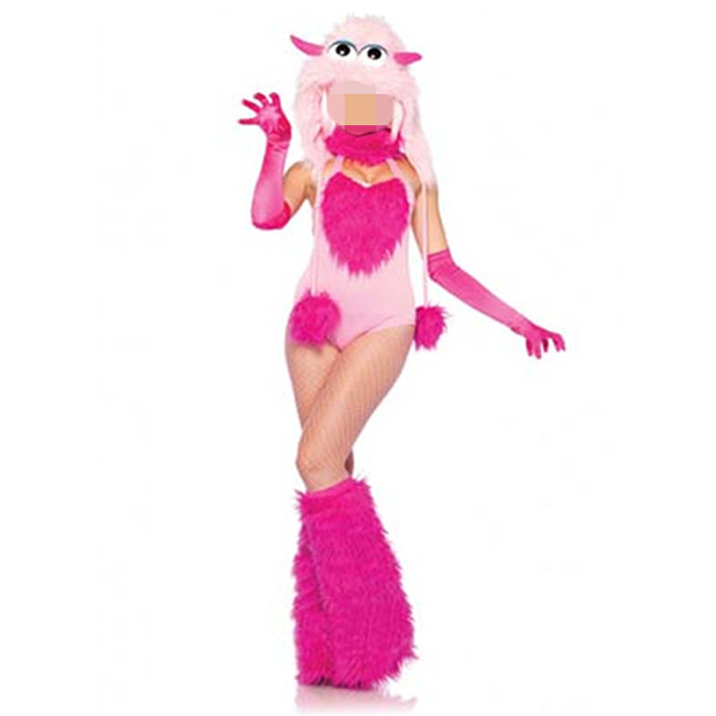 Lovely Cotton Candy Furry Monster Costume Adult Rose Novelty Halloween Costume For Women Sexy Disfraces Adult