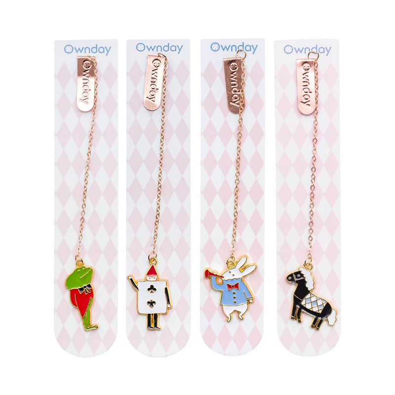 4 Pcs/Set Cartoon Mouse And Horse Metal Pendant Bookmark Creative Book Holder Gift Stationery
