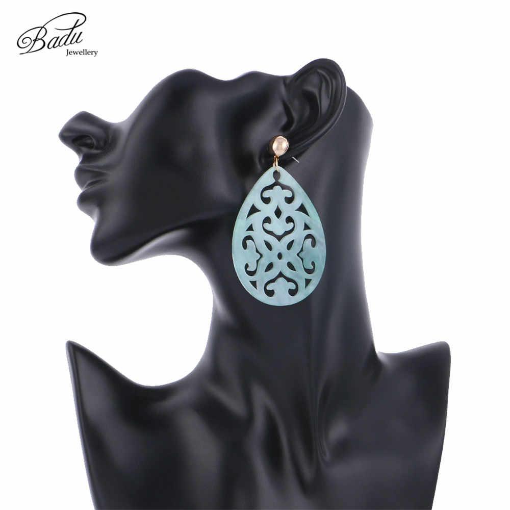 Badu, овальные акриловые серьги для женщин, богемные, зеленые, резные, уксусная кислота, подвеска, висячие серьги, вечерние ювелирные изделия