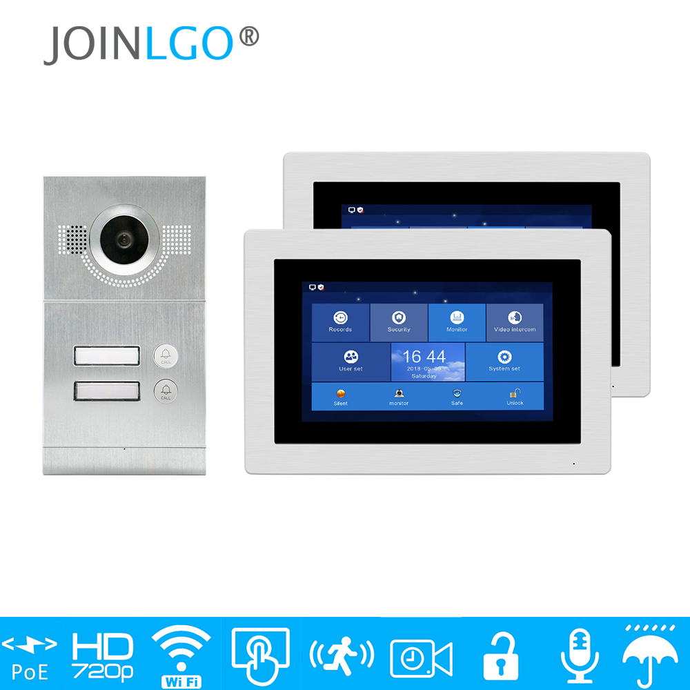 """Free Shipping 1.0MP HD WIFI IP Apartment 7"""" Touch Screen Video Intercom Door Phone Record Kit 2 Monitors Phone Remote Monitor"""