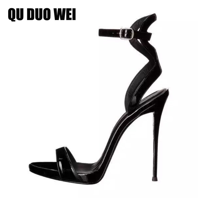 Plus Size 34-43 Patent Leather Women Black Pumps Open Toe Ankle Strap Extreme High Heels Shoes 2018 New Summer Women Sandals meotina shoes women sandals summer sexy stiletto high heel sandals open toe ankle strap party pumps lady shoes purple size 34 43