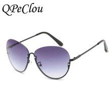 QPeClou Demi-Trame lunettes de Soleil Femmes Marque Design Lunettes de  Soleil Oculos Lunette Sexy Lunettes Cadre Objectif Clair . fcc4b73d5e9f