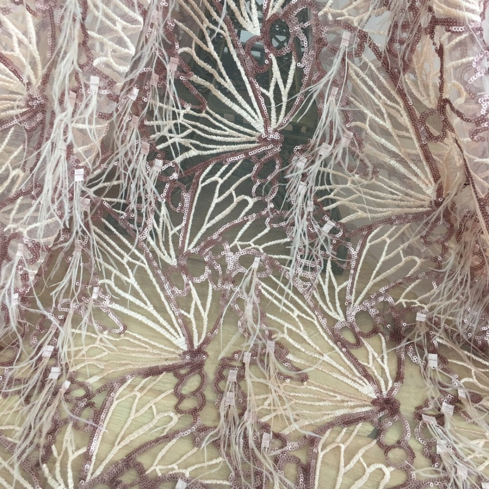 new rose gold luxury lace/3D feather glitter fabric/paillette African lace 5yards/lot for bridal dress/proms/gowns/lady garment