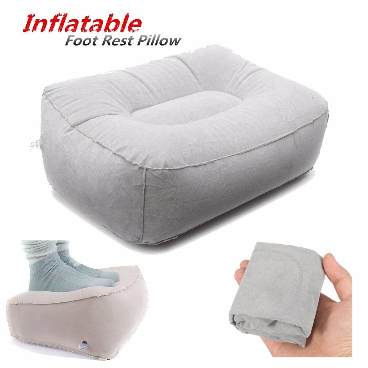 PVC Gray Train Flight Travel Inflatable Foot Rest Pillow Portable ...