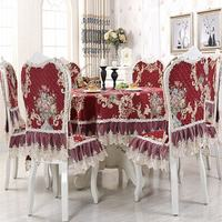 New Arrival Red Europe Lace Floral Home Kitchen Party Tablecloth Set Suit Table cloth Rectangular Round Table Cloth Chair Cover