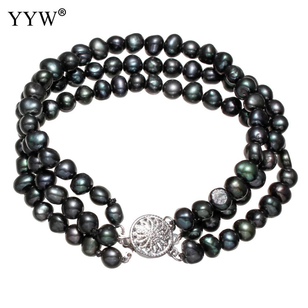 YYW Unique 3-strand Natural Pearl Bracelet Women Wedding Freshwater Pearl Beads Bracelet Box Clasp Black Baroque Pearl Bracelets