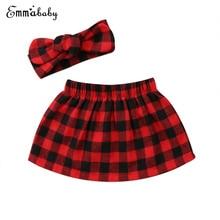 Комплект из 2 предметов; Рождественская красная клетчатая юбка; Одежда для новорожденных девочек; клетчатая юбка; повязка на голову; комплекты для малышей; Комплект для девочек; мини-юбка