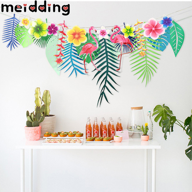 Meidding 1set Flamingo Tropical Leaves Birthday Party Banner Hawaii