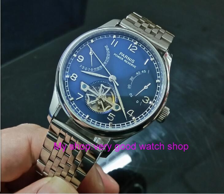 43mm PARNIS Blue dial power reserve Automatic Self-Wind Mechanical movement men's watch 316 Stainless steel watch strap zdgd28 43mm parnis white dial power reserve automatic self wind mechanical movement men s watch cow leather watch strap zdgd01