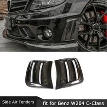 Углеродное волокно передний Боковой бампер вентиляционные отверстия крышка наклейки на кузов для Benz W204 C200 C300 C63 AMG 2008-2011 FRP Совок пластины