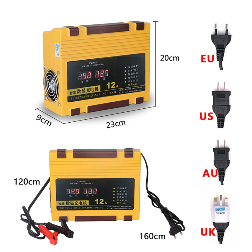 Chargeur de batterie de voiture 12V 24V Portable Type de réparation d'impulsion Intelligent 12A batterie au plomb automatique rapide intelligente charge automatique de puissance - 4
