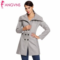 ANGVNS Women Fashion Slim Casual Envelope Collar Double Breasted Wool Blend Trench Coat