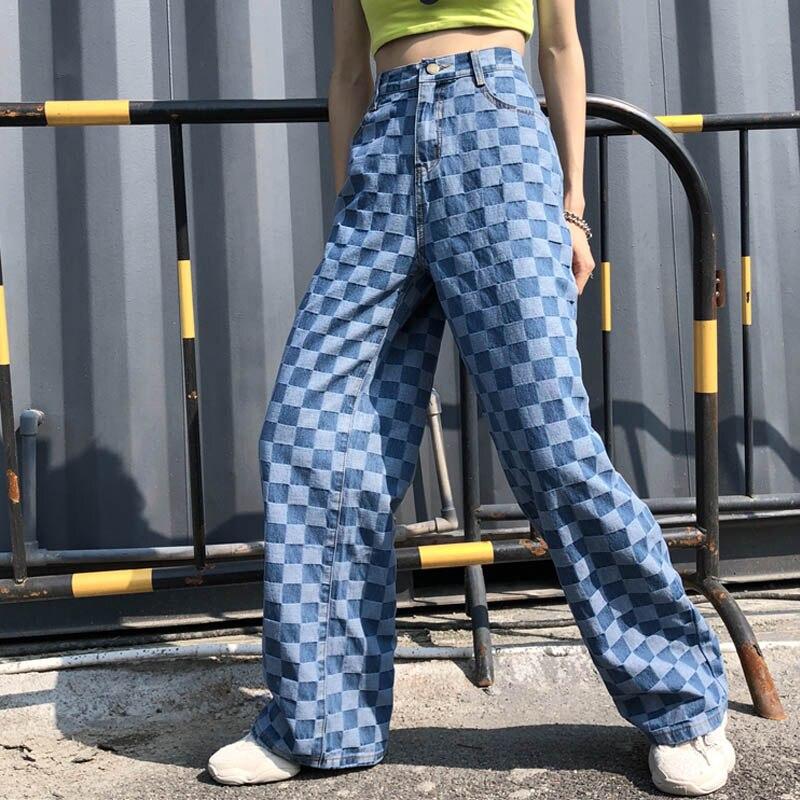 Casual   Wide     Leg     Pants   Women Fashion Plaid Loose Straight Trousers Summer Streetwear Hip Hop Sweatpants High Waist Harem   Pants