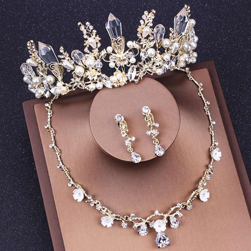 Koreaanse Bruiloft Bruids Sieraden Sets Accessoires Ketting Sets voor Vrouwen Gold Barok Kristal Prinses Koninklijke Tiara en Kroon Set