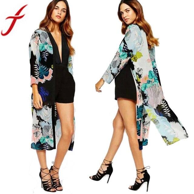 Feitong 2019 Femmes d'été décontracté Kimono Cardigan Blouses En Mousseline de soie Imprimé Floral À Manches Longues hauts blusa mujer feminino