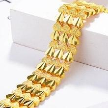 Браслет из звеньев сердца цепочка желтого золота модный широкий