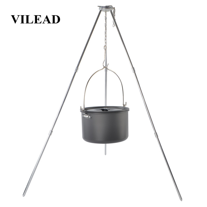 VILEAD Camping Picnic Tripod Hanging Pot Durable Portable Campfire Picnic Cast Iron Pot Grill Hanging Outdoor Cooking Tripod-in Camping Cookware from Sports & Entertainment